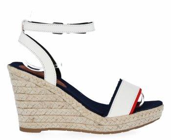 Białe sandały damskie na koturnie firmy Lady Glory