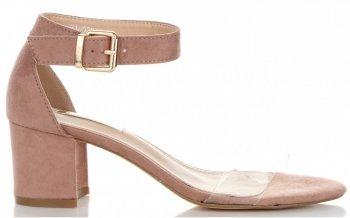 Modne Sandały Damskie na obcasie firmy Bellucci Pudrowy Róż