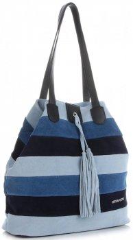 Vittoria Gotti Modna Kolorowa Torba Skórzana w Paski firmowy Shopper Made in Italy Multikolor Niebieska