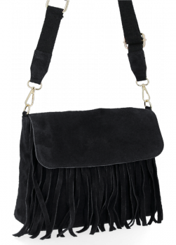 Modna Listonoszka Skórzana z Frędzlami firmy Vittoria Gotti Czarna