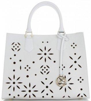 Vittoria Gotti Firmowa Torebka Skórzana Włoski Kuferek w modne ażurowe wzory z Kosmetyczką Biały