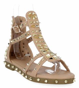 Różowe sandały damskie z ćwiekami firmy Givana
