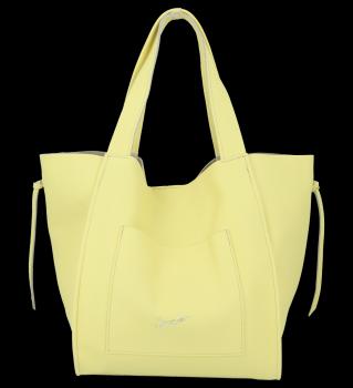 Vittoria Gotti Włoska Torebka Skórzana Shopper Bag z Kosmetyczką Limonka