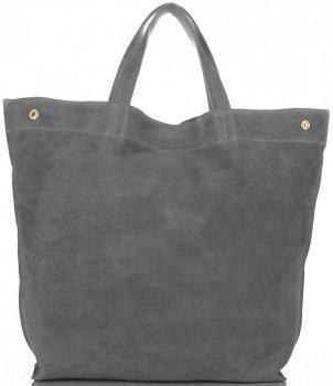 Włoski Skórzany Shopper XL firmy Vera Pelle Szary