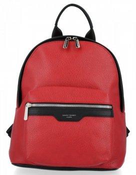 Uniwersalne Solidne Plecaki Damskie firmy David Jones Ciemno Czerwony