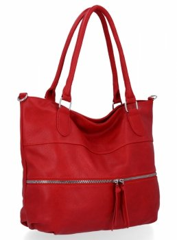 Uniwersalna Torebka Damska Herisson Shopper Bag Czerwona