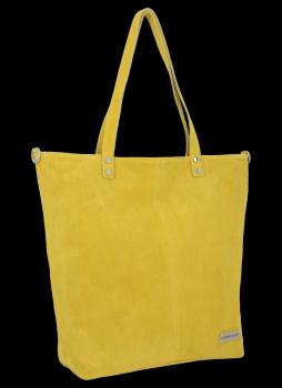 Uniwersalna Torebka Skórzana Shopper Bag firmy Vittoria Gotti Żółta