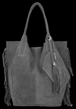 Módna kožená nákupná taška vyrobená zo semišu v Boho štýle od Vittoria Gotti Grey