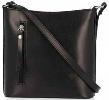 Klasická Taška Na Messenger Vyrobená Z Pravej Kože Pelle Čierna