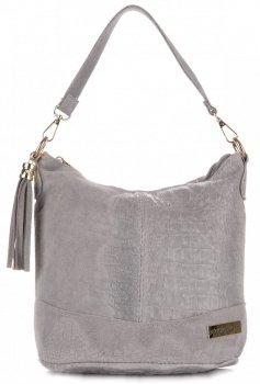Kožené kabelky VITTORIA GOTTI vyrobené v Taliansku aligátor svetlo šedá