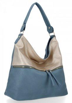 Bee Bag štýlová univerzálna XL Zelia dámska taška cez rameno Svetlo modrá / Zloty