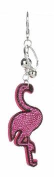 Flamingo kabelka kľúčenka v fuchsie kamienky