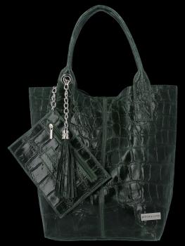 Univerzálna Kožená taška XL Shopper v motíve zvierat Vittoria Gotti Fľaša Zelená
