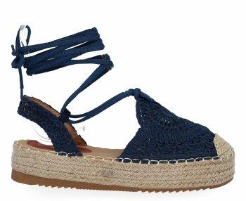 Tmavo modrá dámska platforma espadrille sandále od spoločnosti Bellica