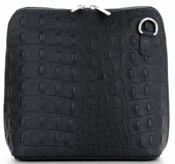 Talianska Kožená taška z pravej kože s krokodílovým vzorom Čierna