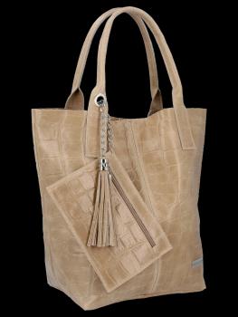 Univerzálna Kožená taška XL Shopper v štýle zvierat od Vittoria Gotti beige
