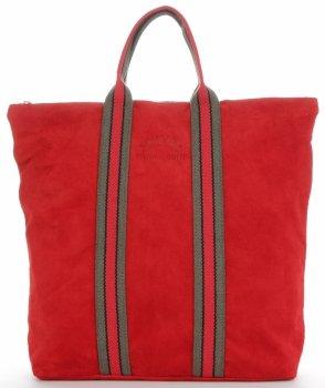 Vittoria Gotti módne pruhované kožené tašky značkové Shopper vyrobené v Taliansku s funkciou batohu Červená