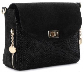 Talianska Kožená taška elegantná messenger taška Vittoria Gotti v štýle aligátora Čierna