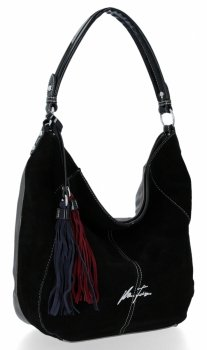 Univerzálna dámska taška XL Velina Fabbiano pravá semišová / ekologická koža Strieborná s čiernou