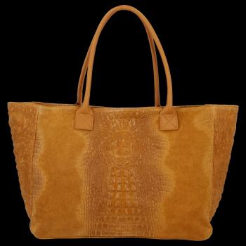 Veľká kožená taška z pravej aligátorovej kože svetlo červená