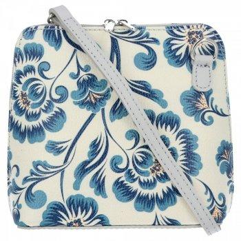 Značkový kožený poštár Vittoria Gotti vyrobený v Taliansku s modrým kvetinovým vzorom