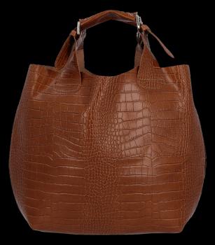 Exkluzívna kožená nákupná taška Vittoria Gotti talianskej výroby v módnom aligátorovom vzore s červenou kozmetickou taškou