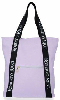 Značková dámska nákupná taška s módnymi popruhmi Roberto Ricci svetlo fialová