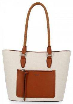 Klasická príležitostná dámska taška David Jones svetlo béžová