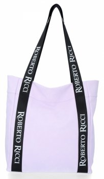 Roberto Ricci Firemná Dámska príležitostná nákupná taška s módnymi popruhmi svetlo fialová