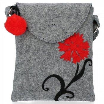 Štýlová dámska taška Bruno Rossi červený kvet svetlo šedá