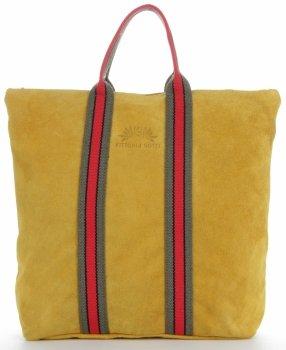 Vittoria Gotti módne pruhované kožené tašky značkové Shopper vyrobené v Taliansku s batohom funkcie Žltá