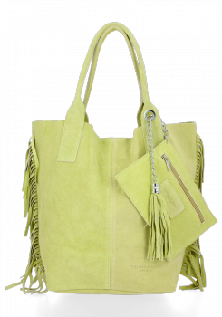 Módna kožená nákupná taška vyrobená zo semišu v Boho štýle od Vittoria Gotti Lime