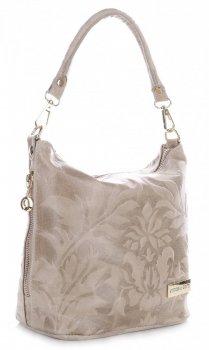 VITTORIA GOTTI vyrobené v Taliansku Kožená taška na messenger v reliéfnych vzoroch béžová