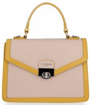 Značkové dámske tašky elegantné Aktovka David Jones Postman Béžová so žltou farbou