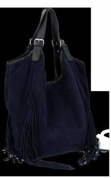 Módne kožené tašky Shopper Bag so strapcami od Vittoria Gotti granát