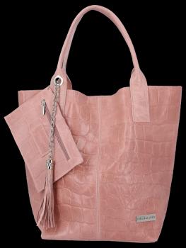 Univerzálna kožená nákupná taška XL v zvieracom štýle od Vittoria Gotti ružový