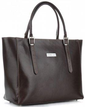 Vittoria Gotti klasická veľkosť XL čokoládová Kožená taška