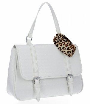 Módna dámska taška s šatkou Herisson biela