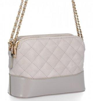 BEE BAG dvojkomorová taška Dámska prešívaná taška Messenger Paris svetlošedá