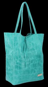Vittoria Gotti taliansky Kupujúci XL všestranná ležérna Kožená taška s módnou tyrkysovou korytnačkou
