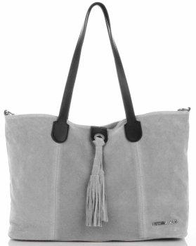 Kožená taška značky Vittoria Gotti Fashion Shopper vyrobená v Taliansku Svetlo šedá