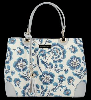 Vittoria Gotti módna kožená taška elegantné puzdro vyrobené v Taliansku s kvetinovým vzorom viacfarebná Modrá