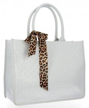 Módna dámska taška s šatkou na krk od Herisson biela