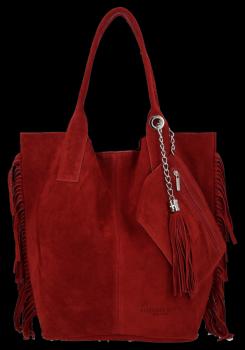 Módna kožená nákupná taška vyrobená zo semišu v Boho štýle od Vittoria Gotti Burgundska