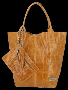 Univerzálna Kožená taška XL Shopper Bag v zvieracom motíve od Vittoria Gotti light červený