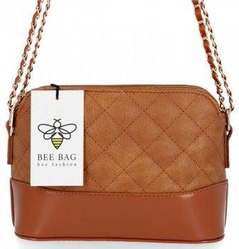 BEE BAG dvojkomorová taška Dámska prešívaná taška na Messenger Paris Ruda
