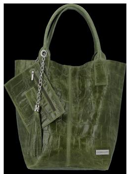 Univerzálna Kožená taška XL Shopper v štýle zvierat od Vittoria Gotti zelený