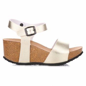 Dámske klinové topánky zlotý