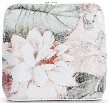 Vittoria Gotti Kožená taška malá talianska taška Messenger s kvetinovým vzorom Biela