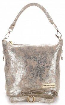 VITTORIA GOTTI vyrobené v Taliansku elegantná Kožená taška na messenger zlotý